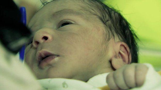 Baby in the Zaatari refugee camp