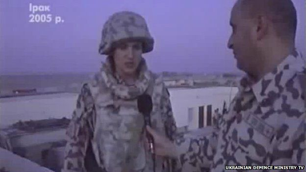 Nadia Savchenko speaks to a reporter while serving in Iraq in 2005, in a still image of footage used in a feature report by Ukrainian Defence Ministry TV