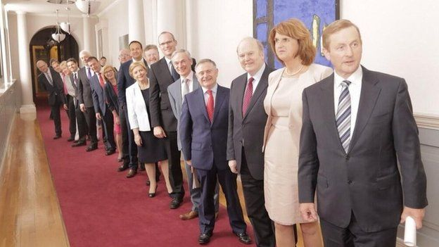 The new Irish cabinet, as announced by Prime Minister Enda Kenny (first right), on Friday