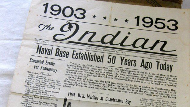 A 1953 newspaper edition reports on the 50th anniversary of the US naval base in Guantanamo Bay