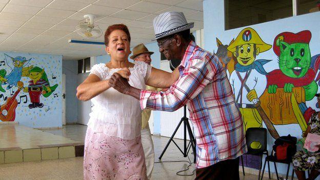 A couple dance in a children's centre in Caimanera in June 2014