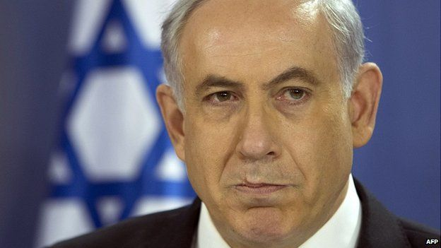 Benjamin Netanyahu speaks during cabinet meeting at defence ministry in Tel Aviv. 18 July 2014