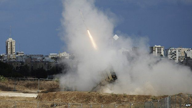 Israeli Iron Dome battery intercepts missile from Gaza in Ashdod. 18 July 2014