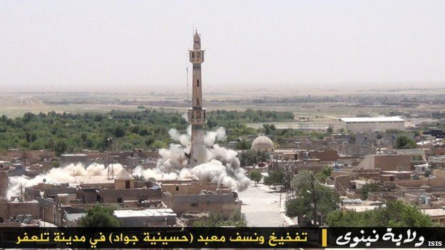 Isis image of the destruction of a Shia mosque in Nineveh