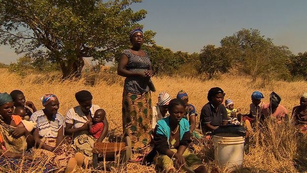 Villagers in a meeting in Chibombo, in Zambia