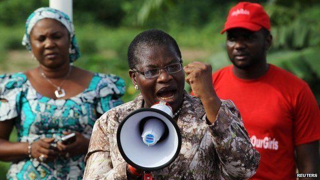 Obiageli Ezekwesili addresses a #BringBackOurGirls meeting at Maitama park in Abuja on 30 May 2014