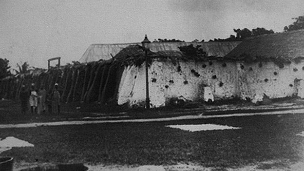 Original mud and thatched built prison