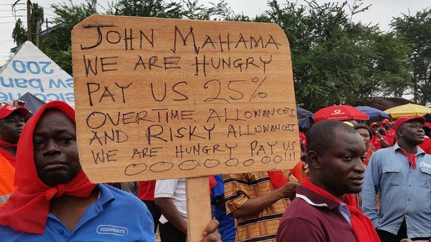 Protesters angry with the rise in the cost of living in Accra, Ghana - Thursday 24 July 2014