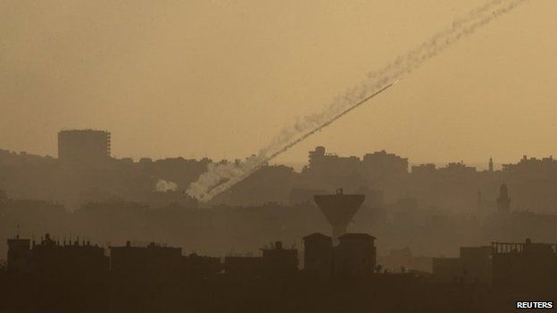A rocket is seen as it is fired from the northern Gaza Strip towards Israel, 25 July 2014