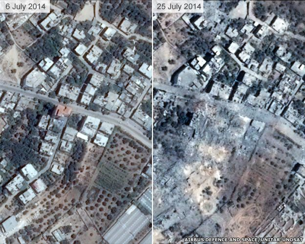 Image shows an area of Shijaia in Gaza City before the offensive and after Israeli strikes