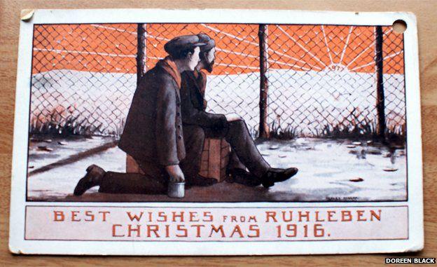 Postcard showing internees at Ruhleben