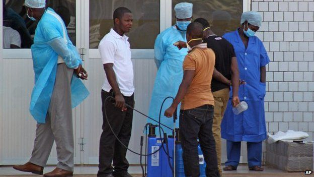 Emergency entrance to a hospital in Conakry treating Ebola patients (March 2014)