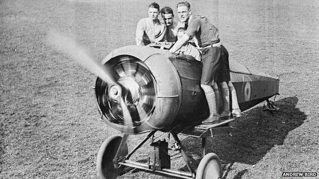 Cadets with fuselage