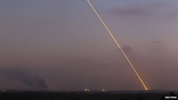 A rocket fired from Gaza heads towards Israel, 29, July 2014