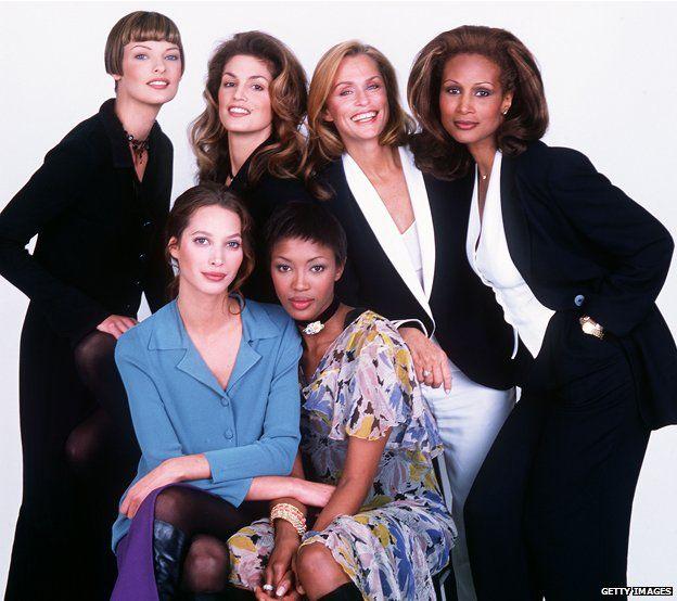 Portrait of (RtoL) Linda Evangelista, Cindy Crawford, Lauren Hutton, Beverly Johnson, Christy Turlington and Naomi Campbell (1993)