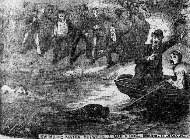 Man racing dog in water