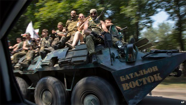 Pro-Russian rebels parade on 2 August 2014