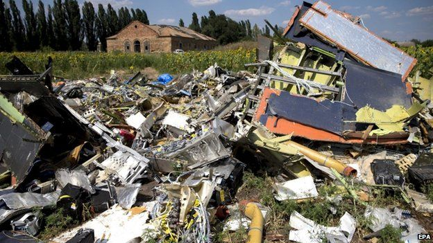 Debris from MH17 near the village of Rozsypne - 3 August