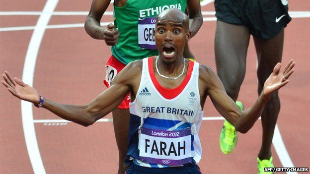 Britain's Mohamed Farah wins the men's 5,000m final at the athletics event of the London 2012 Olympic Games