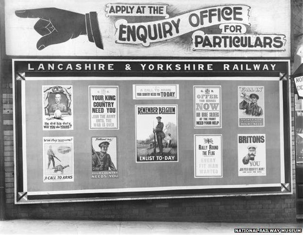Recruitment posters recreated from those at Liverpool Station