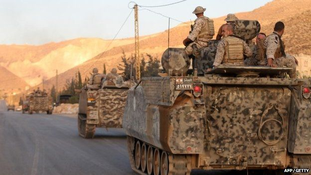 Lebanese army's armoured personal carriers (APC) enter the town of Arsal. Photo: August 2014