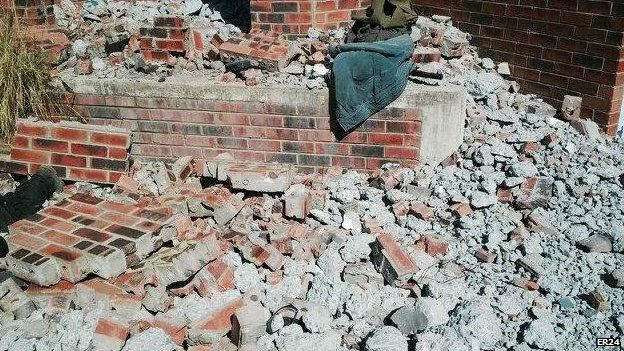 The wall that collapsed killing a man near Orkney in South Africa after an earthquake on Tuesday 5 August 2014