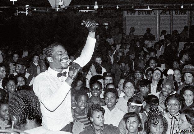 Grandmaster Caz performing to crowd