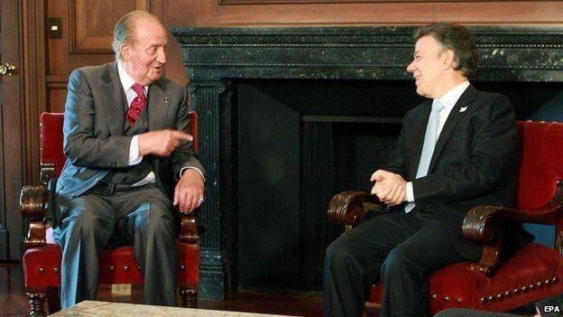 President Juan Manuel Santos and Spanish King Juan Carlos