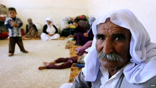 An elderly Yazidi man who fled the violence in the northern Iraqi town of Sinjar, at a shelter in the autonomous Kurdistan region - 5 August 2014