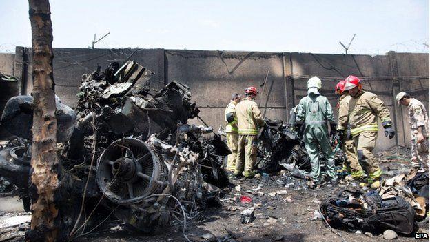 Scene of the crash in Tehran (10 August 2014)