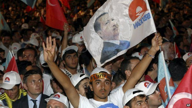 Supporters celebrate the election victory of Turkish Prime Minister Recep Tayyip Erdogan, in Ankara, Turkey