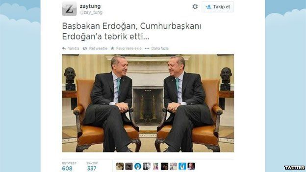 Tweet posted by Twitter user @zay_tung showing doctored photo of Recep Tayyip Erdogan