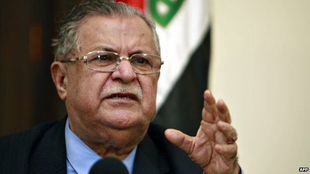 Iraqi President Jalal Talabani speaking during a joint press conference in Baghdad.