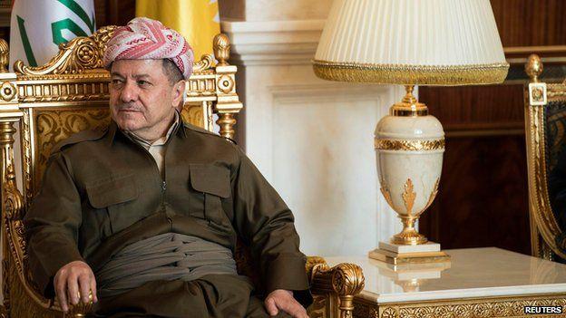 Kurdistan Regional Government President Massoud Barzani listens to U.S. Secretary of State John Kerry