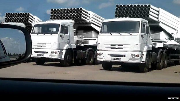 Photoshopped picture showing white trucks as missile systems