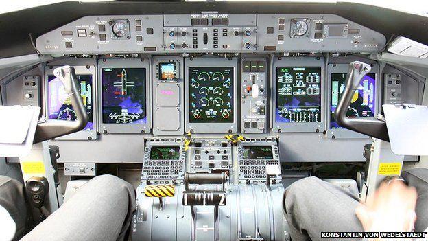 Cockpit of Dash 8 aircraft