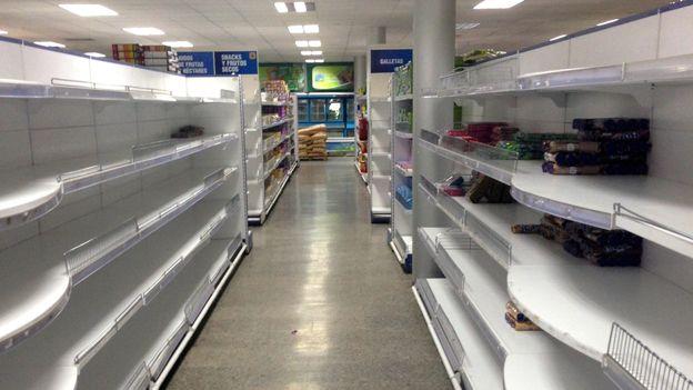 Empty supermarket shelves in Cuba