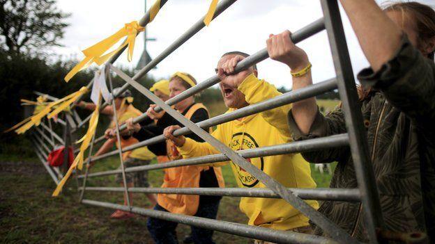 Activists at an anti-fracking camp near Blackpool