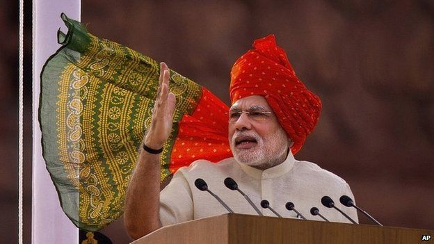 Modi at Red Fort on 15 August 2014