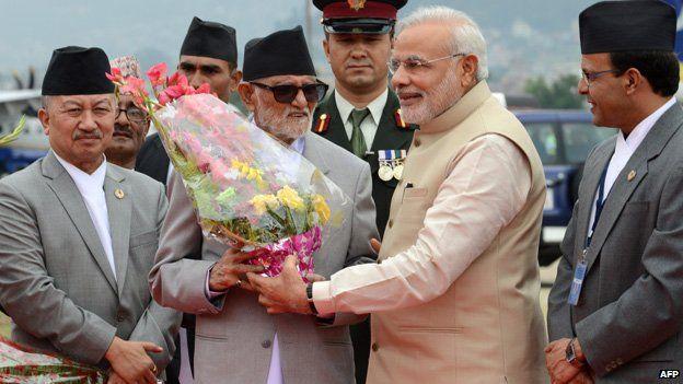 Modi meeting Nepal's leader - 2014