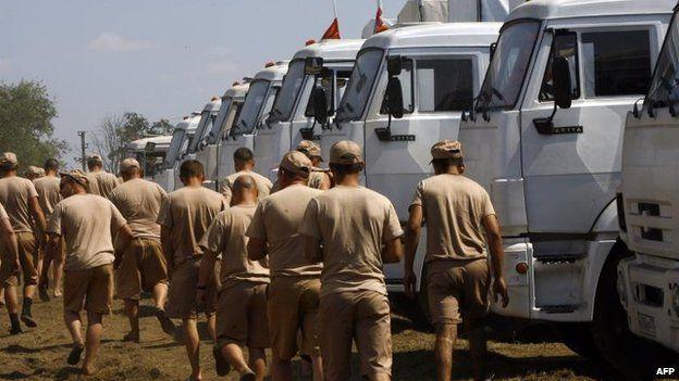 Russian convoy outside Kamensk-Shakhtinsky, 15 Aug