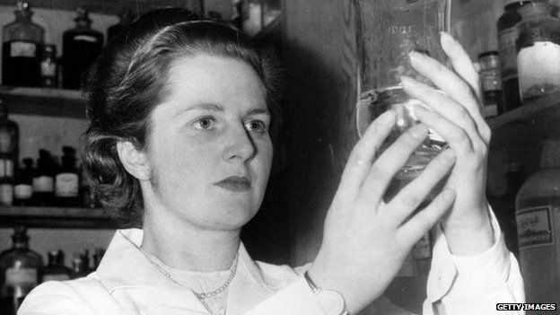 Margaret Thatcher working as a chemist