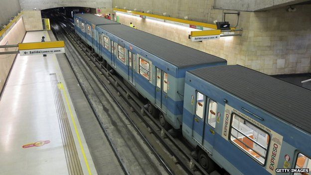 A general view of an almost empty subway station is seen during would-be rush hour in Santiago on 11 September, 2013