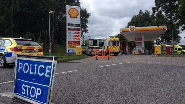 Service station where lorry was stopped