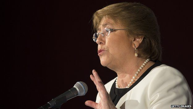 Chilean President Michelle Bachelet speaks at the US Chamber of Commerce in Washington on 1 July, 2014
