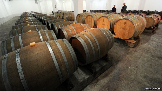 Wine maturing in barrels at a winery in Tbilisi