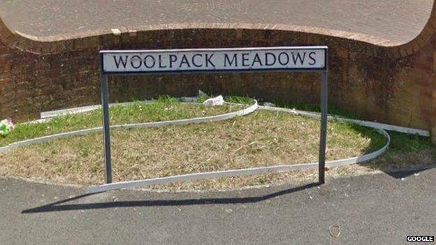 Woolpack Meadows road sign
