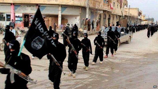 Islamic State militants in Raqqa, Syria. File photo