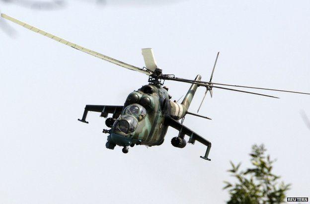 A Ukrainian military helicopter over Kramatorsk, Donetsk region, 22 August