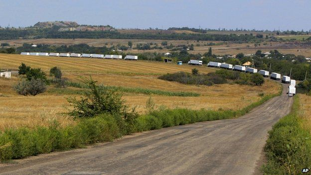 Russia's aid convoy inside Ukraine, 22 August